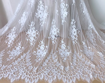 """57"""" Wide Chantilly Lace White French Lace Fabric Gorgeous Scallops Lace Soft Lace Robe Bridal Veils Lace Fabric By The Yard"""