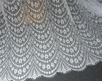 "Wholesale 10 Y Pure White Floral Narrow Scalloped 3D Stretch Lace Trim 1//2/"" S1-7"