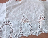 Vintage Style Cotton Lace 14.2 quot Wide Off-white Cotton Lace Trim for Sleeve, Dresses, Costume design