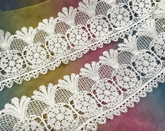 13.5 Wide Vintage Nottingham White Cotton Antique Style Lace Made in France Edwardian Style Wedding Lace Antique Wedding Bridal Lace JM7