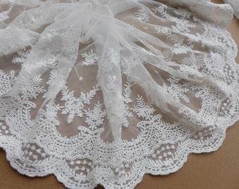 Cream Chenille Style Cotton Lace Trim 20mm Wide Per Metre
