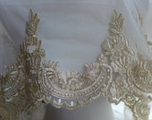 Luxurious Lace Gold Alencon Lace Embroidered Tulle Lace Fabric Trim for DIY Wedding, Bridal Veils, Garments