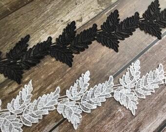 7b33f0e51d Black   White Leaves Lace Applique Trim for Bridal necklace