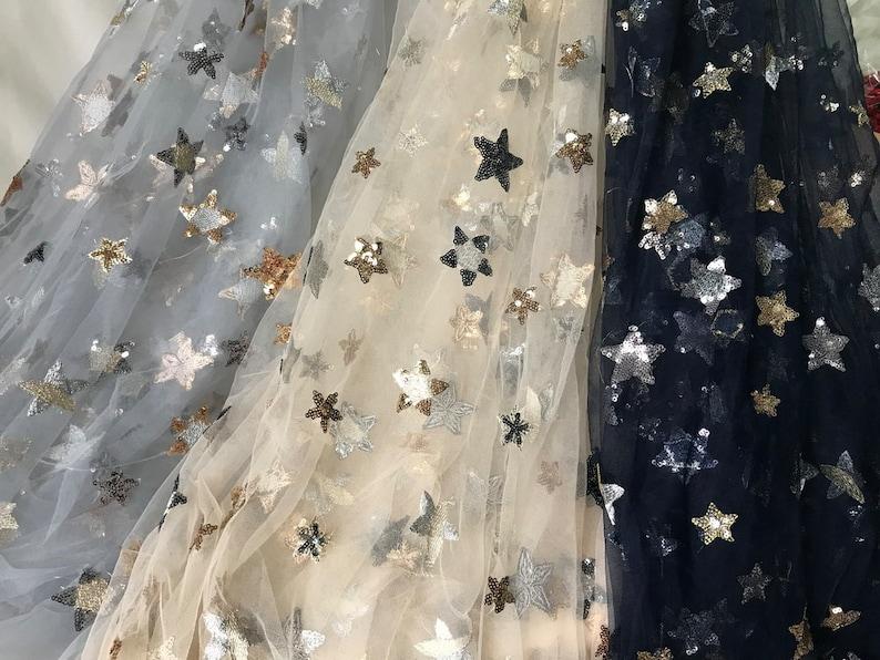 a60ec9253c68 Morbido Tulle Pizzo tessuto squisito stelle pizzo tessuto