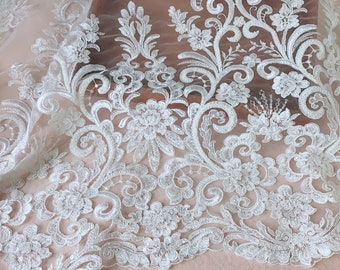 Gorgeous Embroidered Lace Ivory Heavy Beaded Wedding Lace Fabric for Bridal, Gowns, Garments