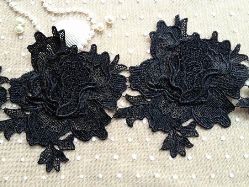 Vendita rosa nera pizzo trim venezia vintage grandi rose nero etsy