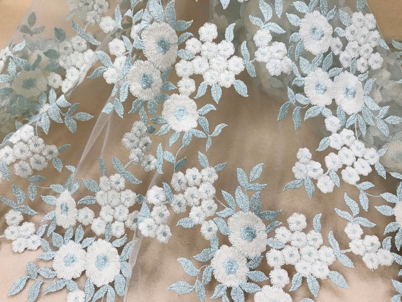 Ice Green Lace Fabric with Silver Thread Off white Cotton Flower Fabric Floral Leaves Embroidery Mesh Lace Fabric