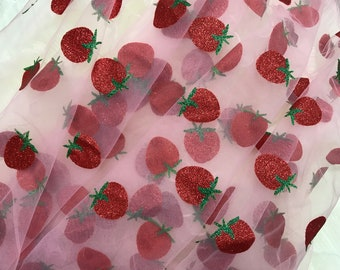 HOT - Glitter Strawberries Embroidered Tulle Lace Fabric for Weddings, Flower Girl Dress, Birthday Dress, Prom Gown