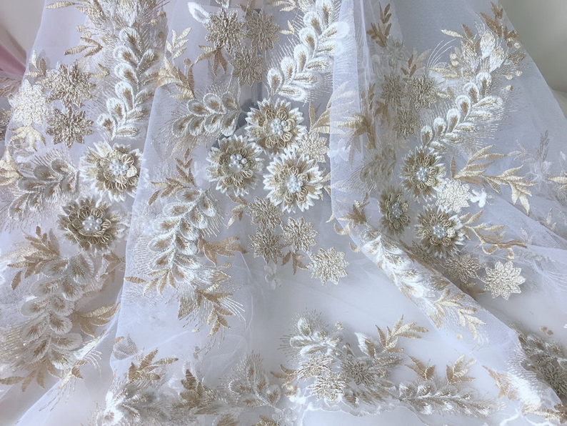 Gold white flower appliqué white tulle lace fabric pearls etsy