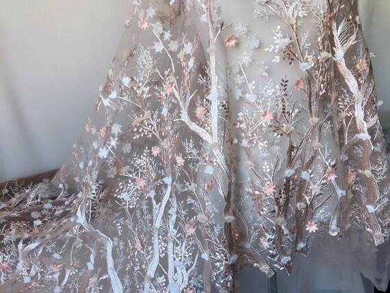 Tissu de dentelle florale de pêche dentelle flocon de neige 3D pour dentelle Tops boule robe de robe de soirée jupes Supply