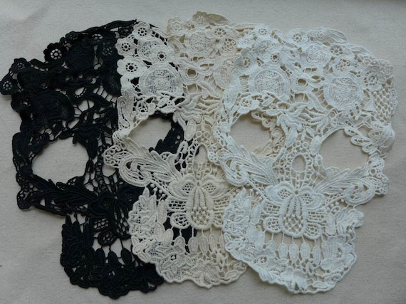 Lace applique skull lace appliques cotton lace trim large etsy