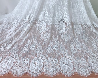 """59"""" Wide Chantilly Lace Soft French Fabric Gorgeous Rose Flower Scallops Lace Fabric By The Yard"""