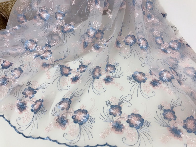SALE Beautiful Embroidery Leaf Floral Fabric  Soft Tulle Lace Fabric for Bridalmaid Dress Flower Girl Dress in Ivory Gray Black Mesh