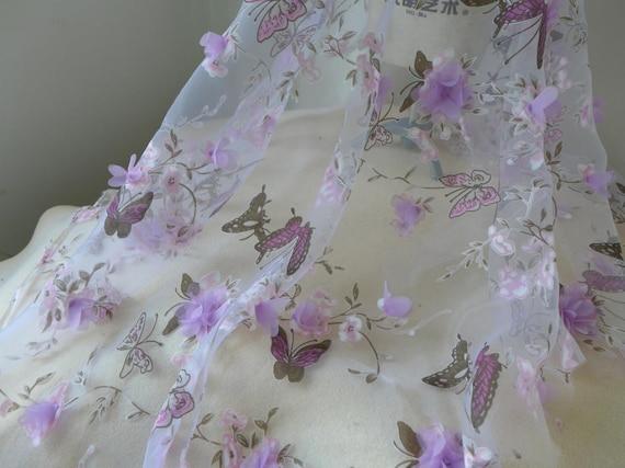 Tissu de papillon, dentelle papillon, de lilas 3D Rose Applique fleur en tissu, fleurs 3D impression papillon en tissu Organza mariage 5e5e01