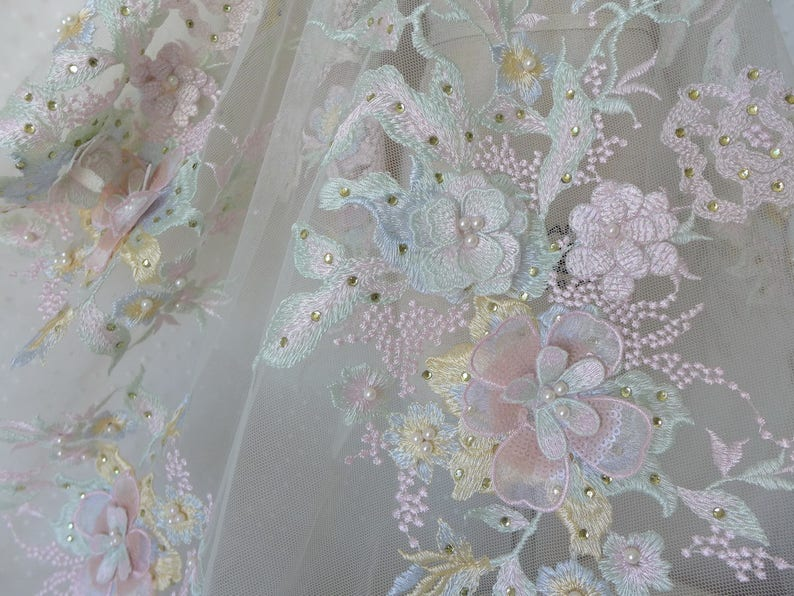 D pearl beaded wedding lace applique fabrics in pastel for etsy