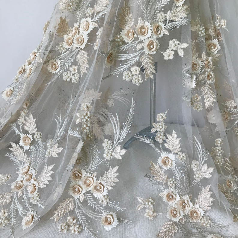 3D Handmade Beaded Flower Applique Fabric in Champagne Bridal Applique Wedding Garters Costume design