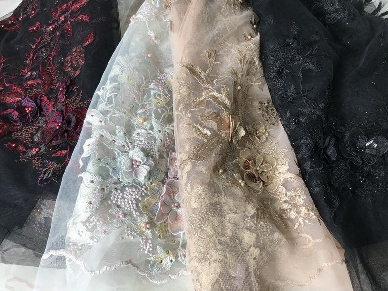 Burgundy Lace Fabric Beaded Applique Black Tulle Fabric 3D Flowers Lace Fabric By The Yard