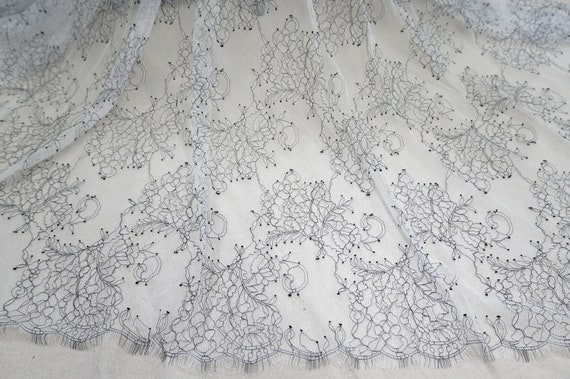 French chantilly lace fabric LL66561 Cream lace