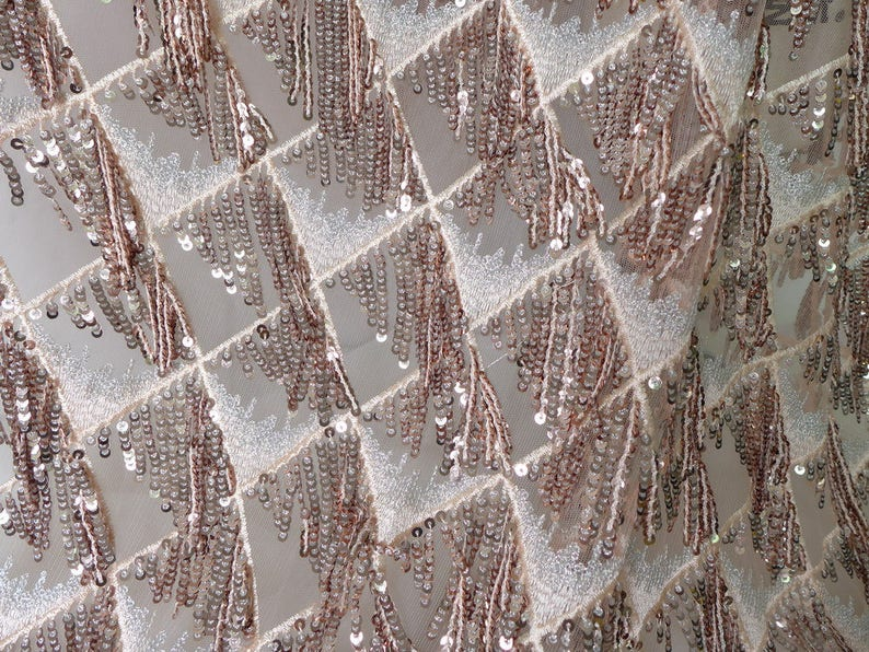 Rose Gold Lace Fabric Sequins Fringe Heavy Embroidered  04d9a8853dcc