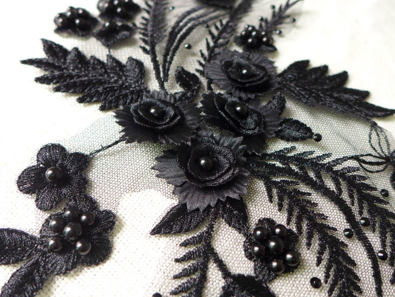Wedding Dress HOT Pearl Beaded Lace Applique in BLACK for Bridal Headpiece Jewelry Design Sashes