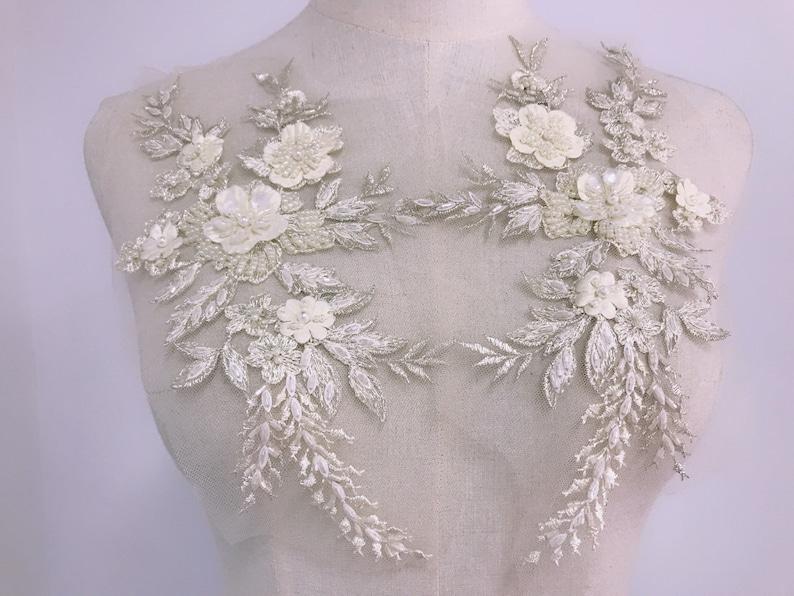 Beaded Wedding Motif Bridal Lace Sew on Trim Gold Floral Wedding Applique 1 PC