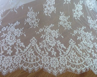 """59"""" wide chantilly scalloped lace ivory floral lace fabric by the yard"""