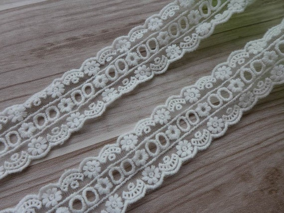 Wide White Floral Embroidery Venice Lace Trim Eyelet Fabric Wedding Dress Sewing