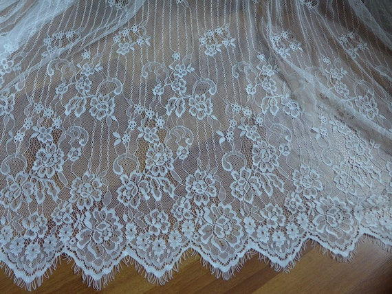 Dentelle Chantilly Off white Floral Bridal Lace Fabric 57.9 wide Fabric for Wedding or Christening Gown