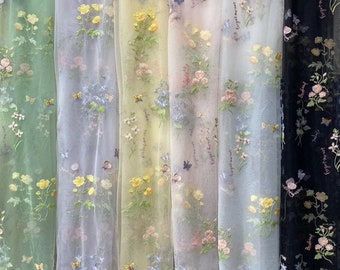 Beautiful Floral Embroidered Lace Fabric, Colorful Flowers Fabric Tulle Lace Bridal Fabric for Weddings, Boho Dress, Summer dress