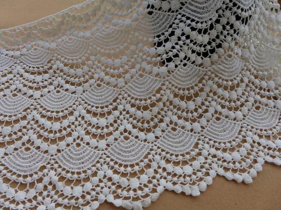 Cream /& Beige Scalloped Edge Vintage Crochet Cotton Lace