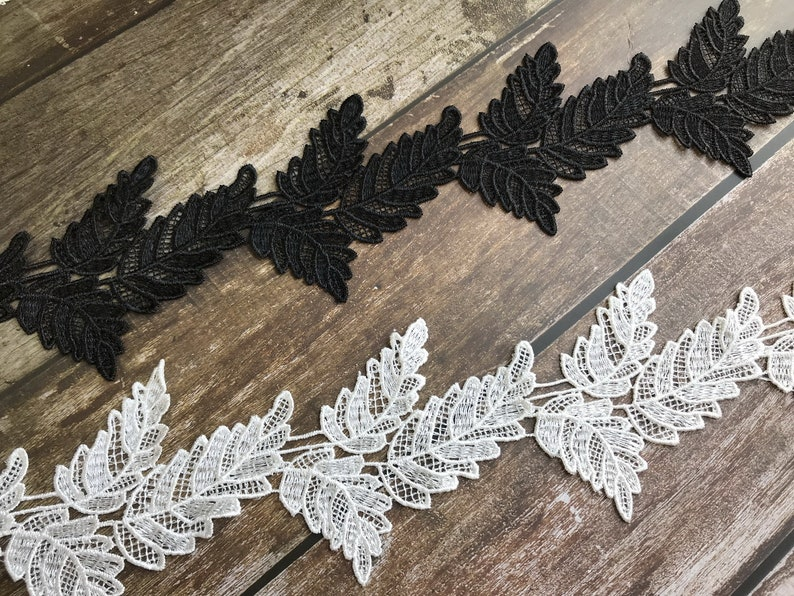 Pairs leaf pattern lace applique in navy blue pink smoky gray