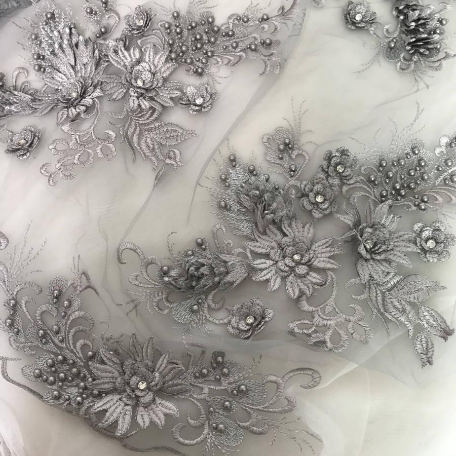Perles épais dentelle Applique tissus épais Perles avec strass en gris pour le Costume de mariée Robes de mariée, appliqués, design a7f027