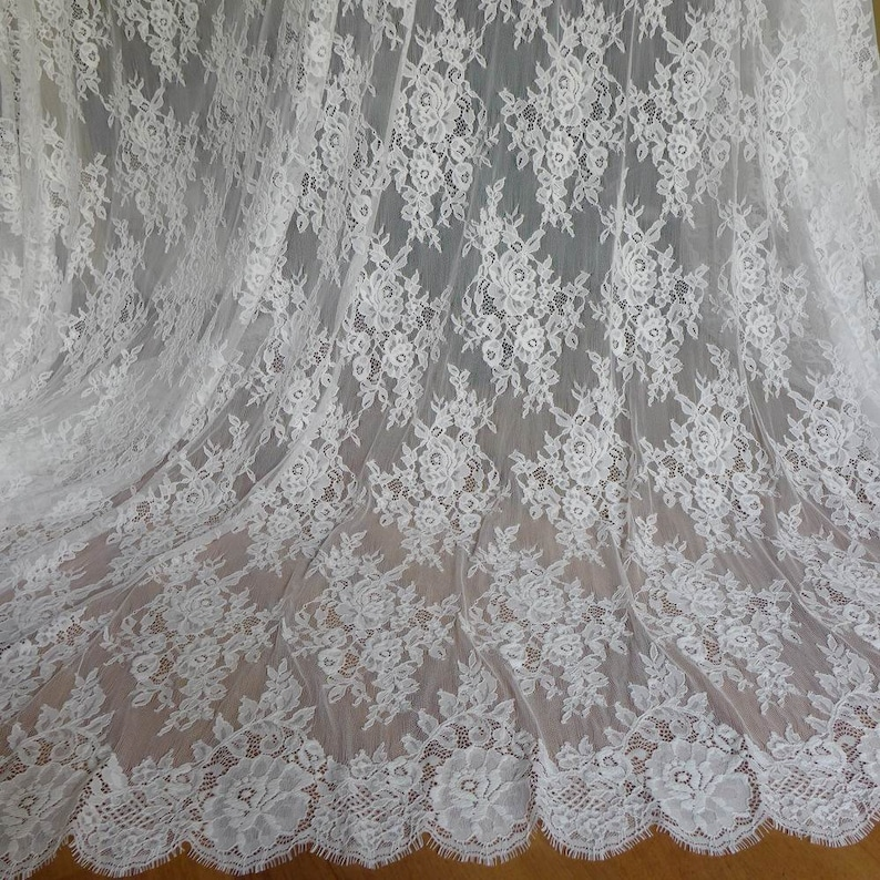 White Chantilly Lace Fabric Beautiful Roses Floral Wedding image 0