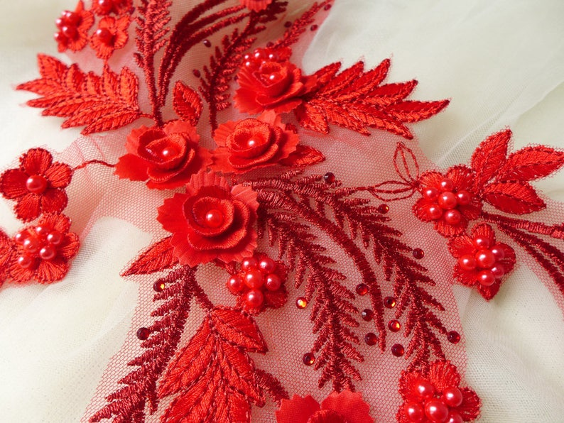 Bridal Beaded 3D Flower Lace Applique in Red for Wedding  870e08d7d5e9
