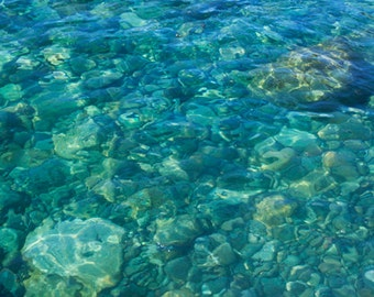 Water Art, Ocean Print, Teal Wall Art, Ocean Photography, Peaceful Photography, Sea Art Prints, Ocean Floor, Beach Rocks, Beach Decor