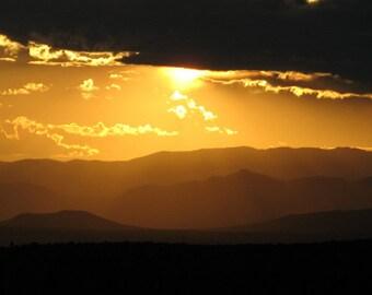 Sunset Photography, Gold Art, Sunset Art, New Mexico Art, Landscape Art, Large Wall Art, Photography Prints, Mountain Art Prints