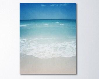 Beach Canvas Photography, Beach Canvas Art, Vertical Art, Minimalist Art, Vintage Style, Ocean Canvas Wall Art, Peaceful Seascape Art