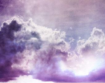 Purple Abstract Art, Large Wall Art, Cloud Photography Prints, Sky Photography, Modern Art