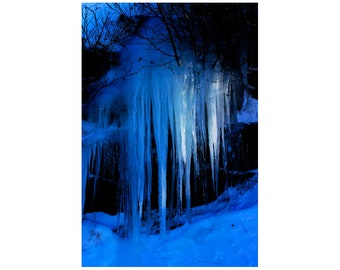 """Blue Modern Art, Surreal Icicle Photography, Limited Edition Print, """"Winter's Spell"""""""