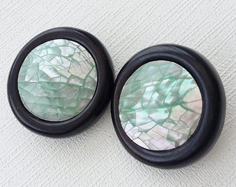 Round Button Earrings Light Pale Green Clip On Chunky Abalone Mother Of Pearl Black Rims