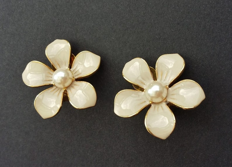 Beige Flower Earrings Clip Ons Enamel Pearl Detail Cream Ecru Statement Jewelry