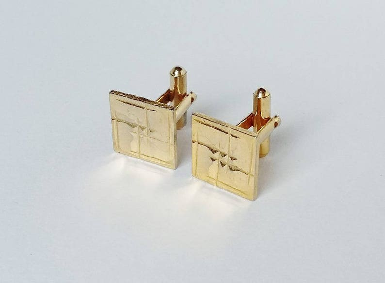 Gold Tone Cuff Links Square Embossed Simple Geometric Design Vintage Cufflinks Elegant Gifts For Him Men/'s Shirt Accessories