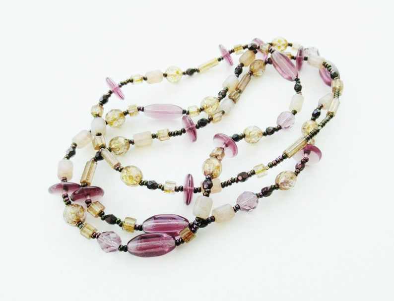 Purple Brown Necklaces Small Plastic Mixed Beads Understated Muted Pink Gold