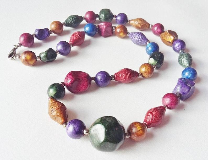 Multicolour Necklace Lustrous Mixed Lucite Plastic Beads Colourful Single Row