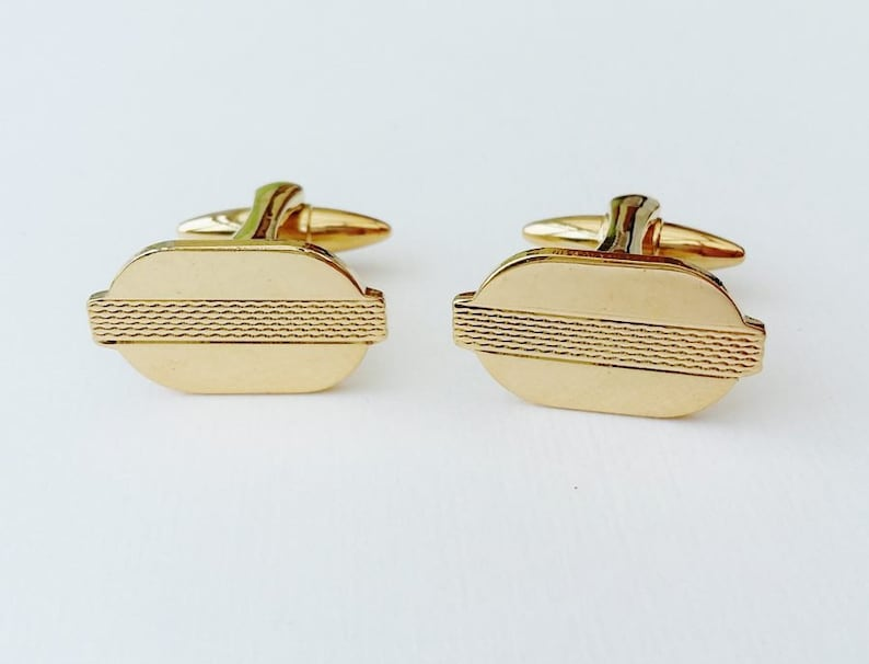 Gold Tone Cuff Links Modernist Embossed Surface Texture Classic Understated Cufflinks Gifts For Him Men/'s Jewellery