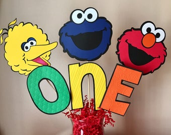 Sesame Street Party Decorations Birthday Table Centerpiece Elmo Cookie Monster Big Bird Centerpiece Sticks Sesame Street Birthday