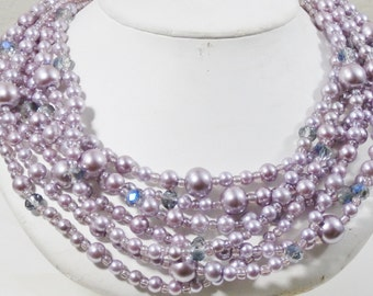 Lavender Pearl and Crystal necklace chunky multistrand SPRING SALE!!!