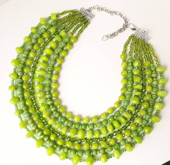 Green and Clear Beadwoven Flat Necklace Jade and Lime Green Tile Seed Bead Patterned Necklace Green Toned Tile Beadwork Necklace