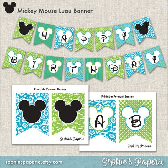 Mickey Mouse Luau Banner Tropical Banner Full Alphabet Party Decorations Diy Instant Download