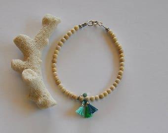 """Fancy stone bracelet semi-precious Jasper, Green Opal and cotton tassels: pattern """"Lily"""""""